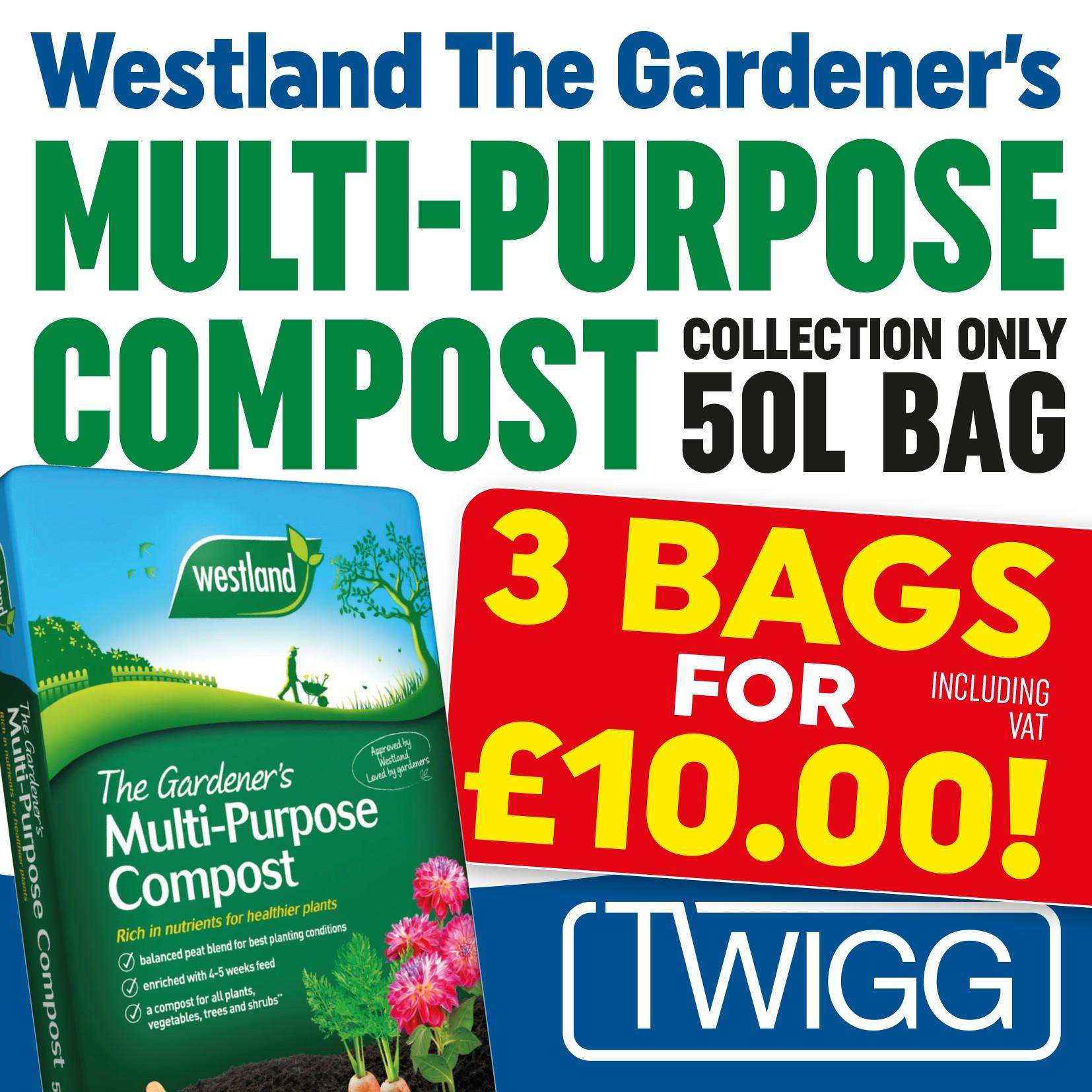 WESTLAND 50 LITRE COMPOST - 3 BAGS FOR £10 INC VAT WHILST STOCKS LAST