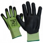 CUT RESISTANT LEVEL 5 GLOVE    GREEN RIBBED NITRILE SIZE 10