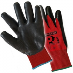 PREDRED NITRILE FOAM GLOVES    RED/BLACK  SIZE 9 JUST1