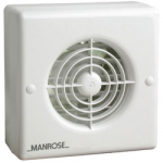 "MANROSE WALL EXTRACTOR FAN 6""  WITH INT SHUTTERS & PULL CORD"