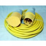 EXTENSION CABLE 14M X 1.5MM    YELLOW C/W PLUG & SOCKET 110V