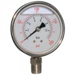 "PRESSURE GAUGE 0 - 230 PSI     100MM DIA 1/2"" BSP GLYC FILLED"