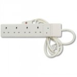 SOCKET EXTENSION WHITE 4 WAY   13A 2M CABLE