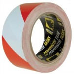 ADHESIVE HAZARD WARNING TAPE   RED/WHITE 50MM X 33MTR